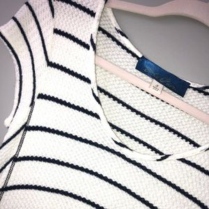 White and Navy Striped Knit Top